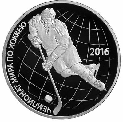 2016 RUSSIA 3 R RUBLE Rubel SILVER PROOF 1 OZ The World Ice Hockey Championship