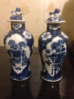 Vintage Pair Chinese hand painted porcelain Vases
