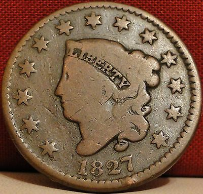 Circulated 1827 Coronet Head Large Cent (#2)