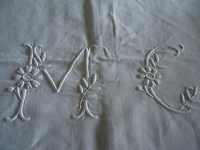 Gorgeous monogrammed vintage French linen dowry sheet