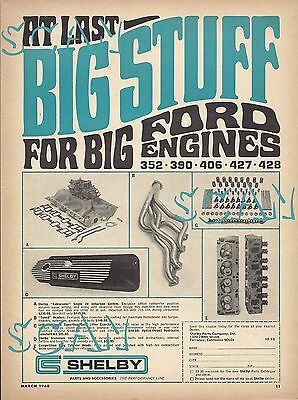 1968 Ford Shelby Cobra Accessories Ad Mustang Advertisement GT350 GT500 390 428