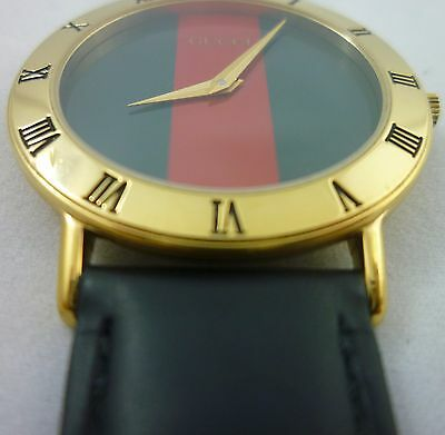 1166111ef58 Gucci 3000.2.m Timepiece Quartz Sapphire Crystal 18K Gold Plated Watch Red  Green