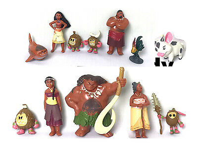 New Moana 12 pcs Princess action Figures Doll Toy Kids Gift Cake Toppers