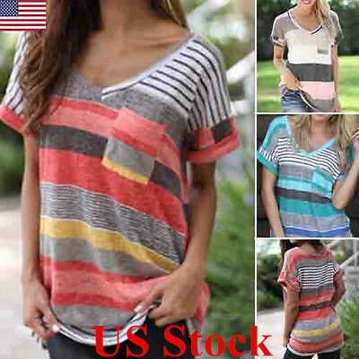 Women Lady V Neck Loose Tops Short Sleeve Stripe T-Shirt Summer Plus Size Blouse