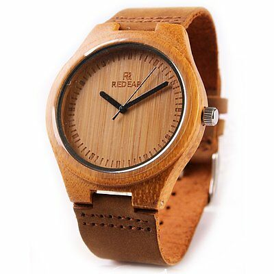 Fashion Men's Women's Luxury Bamboo Wood Watch Quartz Leather Wristwatches W/box