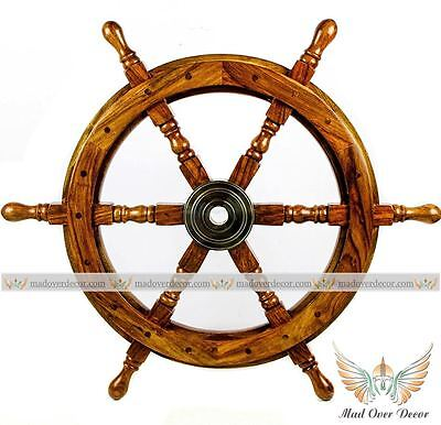 Wooden Ship Wheel Nautical Beach Tugboat Steering  Shipwheel Retro 18 Inch