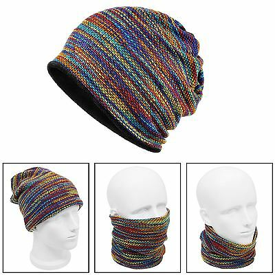 Unisex Neck Warmer Knit Winter Hat Headband Beanie Mask Neck Gaiter Multicolor