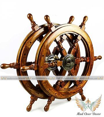 Collectibles Tug Boat Ship Wheel- Wooden Boat Steering Nautical Wheel Set Of 2