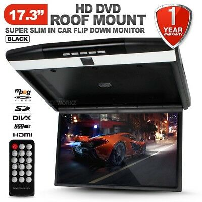 "NEW 17.3"" HD TFT LCD SD HDMI USB Black Roof Mount Overhead DVD Flip Down Monitor"