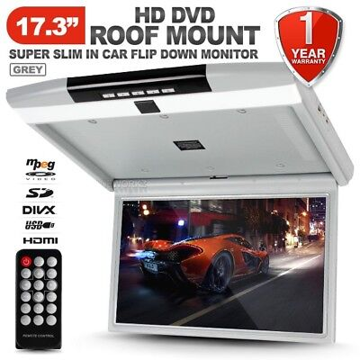 "NEW 17.3"" HD TFT LCD SD HDMI USB Grey Roof Mount Overhead DVD Flip Down Monitor"