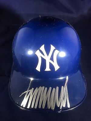 President Donald Trump - Hand Signed Official Ny Yankees Mini Helmet - Coa