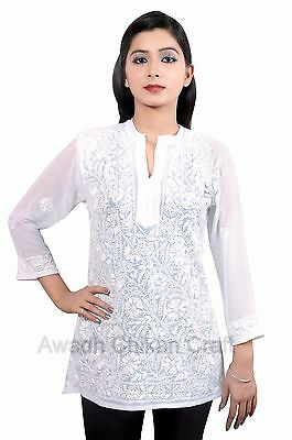 Indian Handmade Chikan Embroidered Georgette Kurta/Kurti/Tunic For Women White