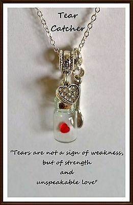 Ashes Necklace ~ Bereavement Gift ~Tear Catcher~Cremation Jewellery~Lock of hair