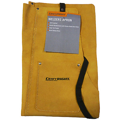 Craftright WELDERS APRON Split Leather Double Stitched Seams, Large Pocket Camel