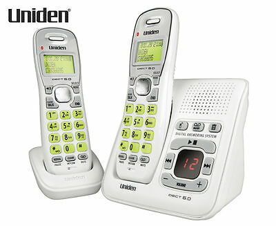 Uniden Digital Cordless Phone Answering Machine Recording 2 Handset Speakerphone