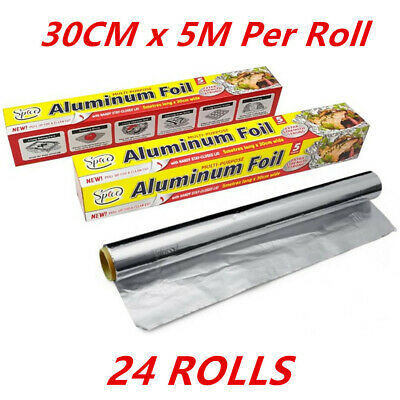 24  Rolls Aluminium Foil Roll 5 Metres Meter Kitchen BBQ Party Function Bulk FD