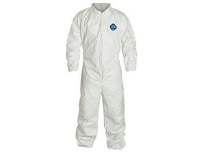Lot of 3 DuPont Tyvek TY125S Disposable Coverall, Elastic Cuff,White, Size:Large