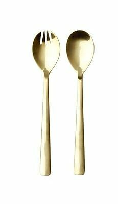 Gold Stainless Steel Salad Servers - Gold Look 2 Piece  (Boxed Set)