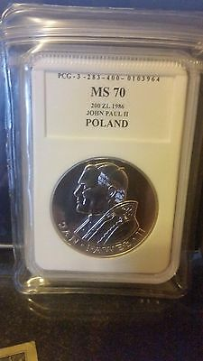 1986 Poland 200 zloty Pope John Paul II Silver coin
