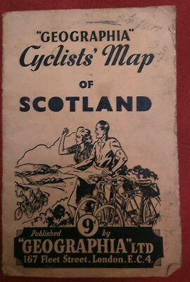 GEOGRAPHIA CYCLISTS MAP OF SCOTLAND, 1950s