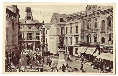 DENBIGH Crown Square, Old Phototype Postcard by Valentine, Unused