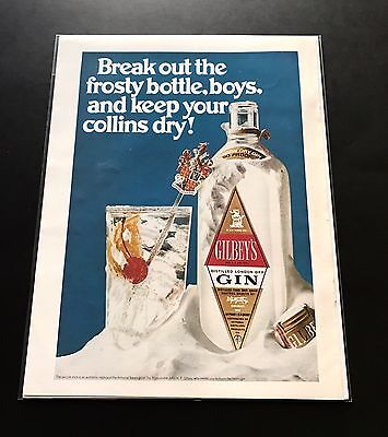 Gilbey's Gin   1968 Vintage Print Ad   Beautiful Color Image Design