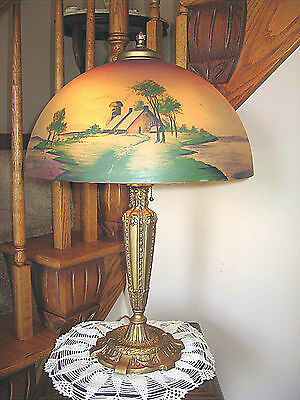Antique Pittsburgh Obverse Not Reverse Painted Lamp - Signed