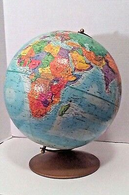 "Vintage 12"" Replogle World Nation Series Metal Base Raised Topography Globe USSR"