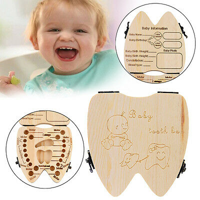 Baby Milk Tooth Box Organizer Teeth Save Wood Storage Tooth Collecting Box CA