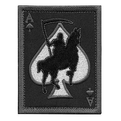 grim reaper death card ace of spades ACU subdued touch fastener patch