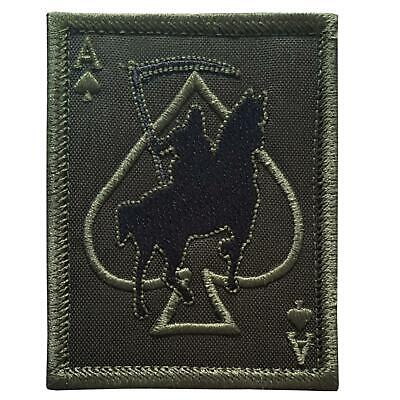 grim reaper death card ace of spades OD green embroidered sew iron on patch