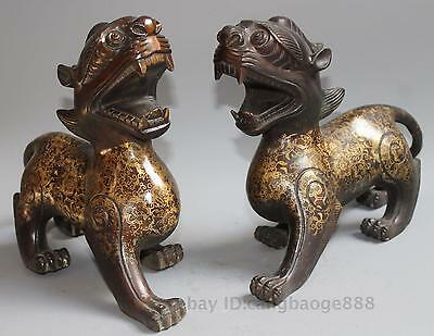 Chinese Brass Folk Fengshui Foo Fu Dog Guardion Lion Statue Sculpture Pair