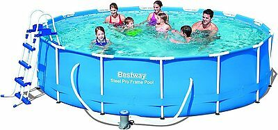 Bestway Swimming Pool with Pump Ladder Filter Cover Mat Steel Frame 14ft x 39.5""