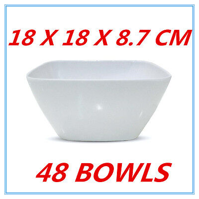 48 X Small Glossy White Melamine Square Bowls Bowl Party Function Event Fd