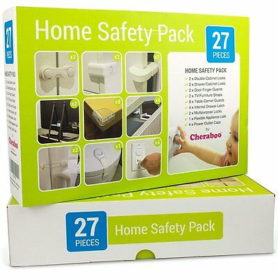 Cheraboo 27pc Toddler Home Safety Kit – Cabinet Locks Corner Guards - baby proof