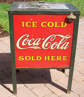 1920's Coca Cola Cooler with 6 Coca Cola Tin Signs