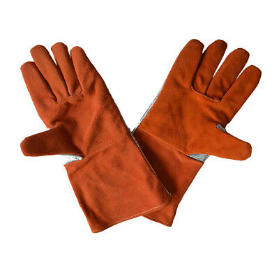 "14"" Welding Gloves Orange Artificial Cowhide Protect Welder Hands Safety"
