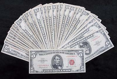 1963 $5 Red Seal Notes * 39 Notes + 1 Star Note! * All $5 Reds * Mixed Condition