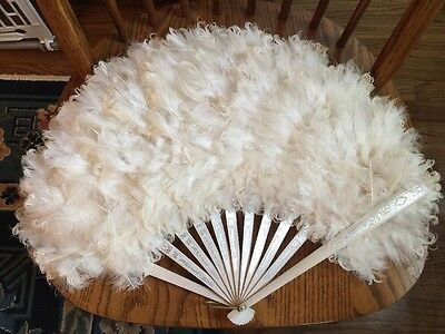 Vintage Victorian Style Hand Held Fan Curly Ostrich Feathers
