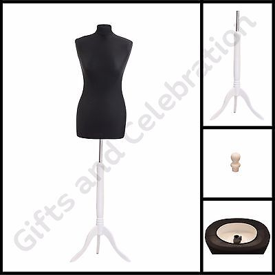 Black Female size 10/12 Tailors Dressmakers Maniquin Dummy White tripod stand