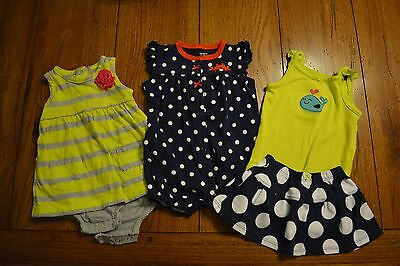 Lot of 3 Baby Girl Carter's Spring Summer Outfits Size 6 Months