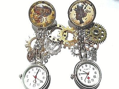 steampunk watch clip on watch brooch charm skeleton dial nurse watch with charms