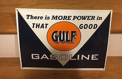 Porcelain That Good Gulf Gasoline Gas Station Sign Advertising Display Man Cave