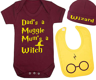 Muggle and Witch Harry Potter Inspired Baby Vest Hat and Bib Set Baby Gift