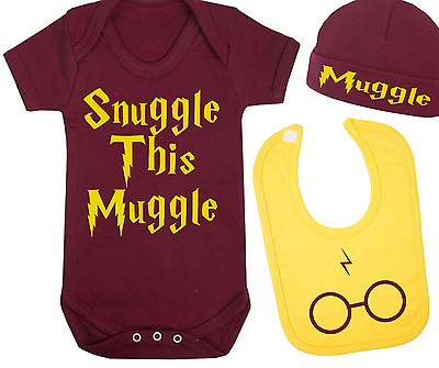 Snuggle this Muggle Harry Potter Inspired Baby Vest Hat and Bib Set Baby Gift