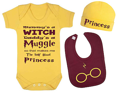 Half Blood Princess Harry Potter Inspired Baby Vest Hat and Bib Set Baby Gifts