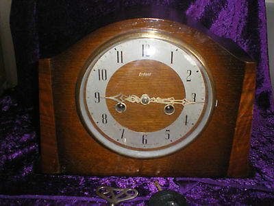 ENFIELD 8 day OAK CASED STRIKING MANTEL CLOCK FULLY SERVICED V. G .C