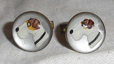Vintage Wire Fox Terrier Cufflinks by Jacob Oldak w/Patent Date from 1949