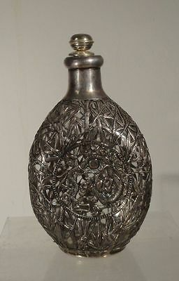 Antique Chinese Sterling SIlver Bamboo Dragon Overlay Glass Bottle Hallmarks