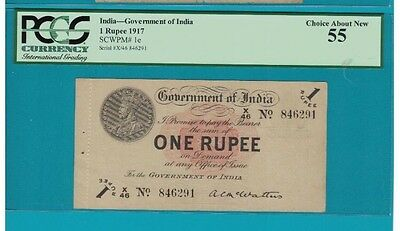 INDIA -P-1E :1Rs KGV ND(1917 About UNCIRCULATED :( Rare)PCGS :55